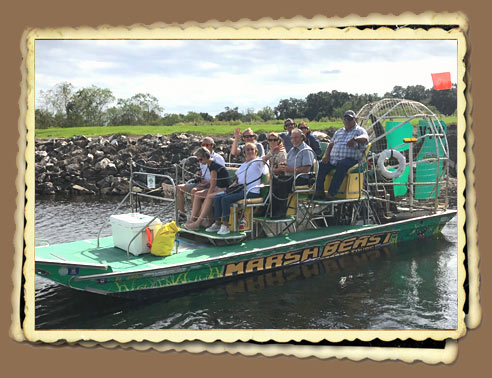 Airboat Going On A Tour Of Everglades